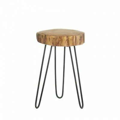 Log Top Accent Table Features Acacia Wood Table or Stool with Iron Rod Legs New