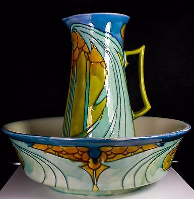 ART NOUVEAU MINTON SECESSIONIST No 8 BATHROOM WASH JUG & BOWL C.1910
