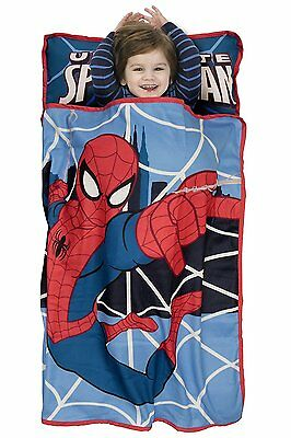 Marvel Spiderman Blue Travel Toddler Nap Mat Blanket Sleeping Bag Sack NEW