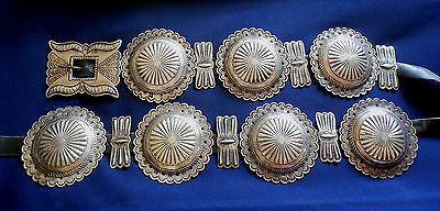 NATIVE AMERICAN STERLING Stamped Domed Ladys Vintage 14 PCS CONCHO BELT