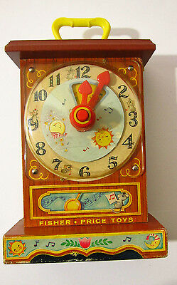 FISHER PRICE MUSICAL TICK TOCK Clock Wood 1962 #997 Vtg