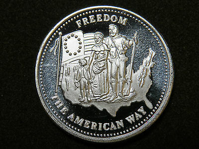 1986 1 oz SILVER COIN JOHNSON MATTHEY JM FREEDOM THE AMERICAN WAY .999 USA