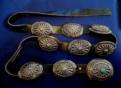 NOFCHISSEY NAVAJO STERLING Stamped TURQUOISE Vintage 10 PIECES CONCHO BELT