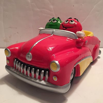M&M Hot Rod CONVERTIBLE Car Candy Dish Red & GREEN M & M RARE Ceramic