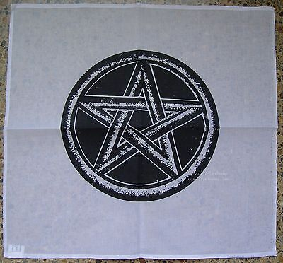 WHITE ATLAR CLOTH WITH BLACK PENTAGRAM 45 x 45cm Wicca Pagan Witch Goth