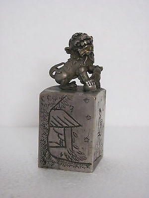 Old Chinese Solid Brass Carved Landscape and Lion Seal with Signed