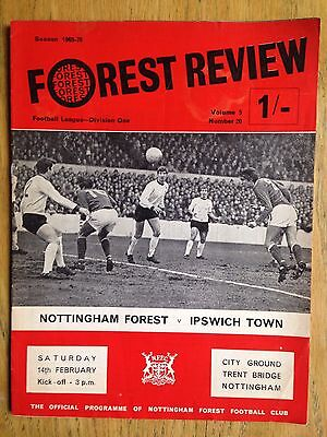 Nottingham Forest v Ipswich Town 1969/70 programme