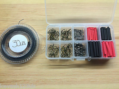 Pike/Game Fishing Trace Making Kit.Over 200 Pieces + a 10 Section Tackle Box.