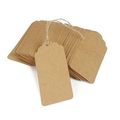 100pcs Blank Kraft Paper Card Wedding Label Baking Listed Tag Gift Tags Twine