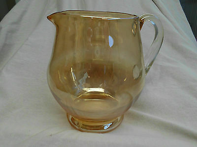 Vintage Retro Classic Gold/yellow Art Glass Water Jug 17Cms Hgtx18Cm Spouthandle