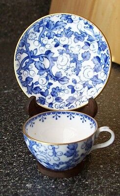 Spode MINIATURE BLUE FLORAL CHINTZ CUP & SAUCER Gold Trim (#Y6161) WOODEN STAND