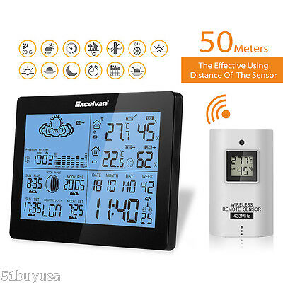 Digital Wireless Weather Station Outdoor Indoor Thermometer Humidity Time Alarm