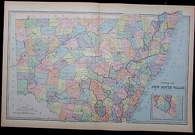 New South Wales Australia huge antique map 1888 by Macdonald detailed scarce