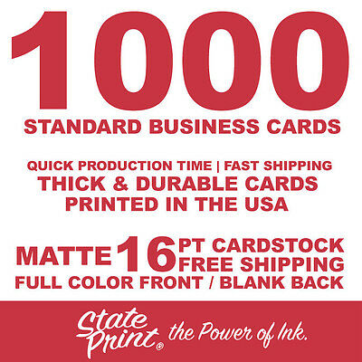 1000 Full Color Front / Blank Back - Matte - 16Pt Business Cards + Free Shipping