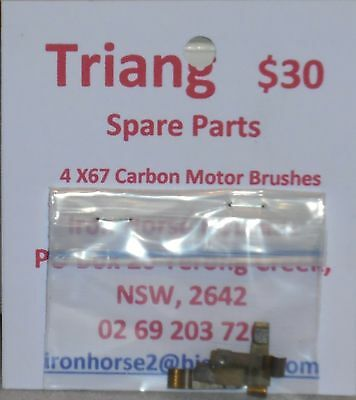 Triang, New 4xX67 Carbon Motor Brushes Orignals from 1960's. Fit all Triang.