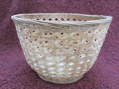 Antique Estate Find Asian Round Chinese Basket with Paper Tag