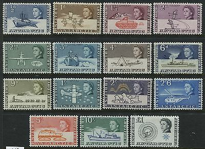 British Antarctic Territory 1st QEII set to the £1 mint o.g. F-VF Scott #1-15