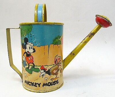 "early 1930's MICKEY MOUSE & CHICKEN Ohio Art tin litho 6"" WATERING CAN Disney"