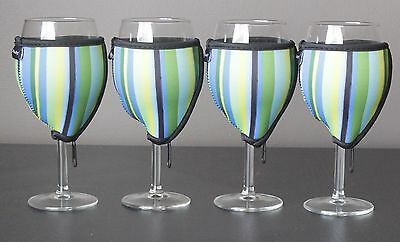 Stripe wine glass coolers x 4