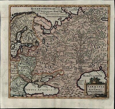 Russia Scythia 1729 decorative antique map Scandinavia Black Sea Capian Georgia