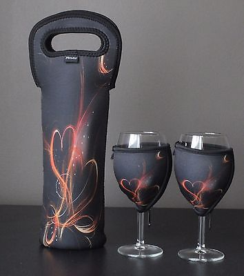 Fiery Heart bottle carrier and wine glass coolers
