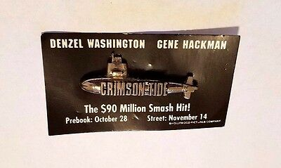 Rare 1995 Crimson Tide Movie Promo Metal Pin - Submarine Denzel Washington