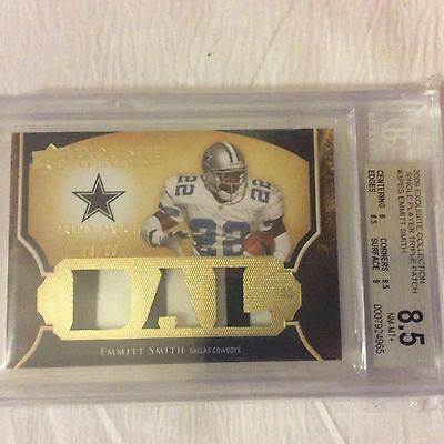 EMMITT SMITH 13/30 TRIPLE GAME USED PATCH 2009 EXQUISITE 2 color graded