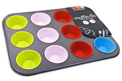 12 Slot Non Stick Muffin Pan Tin Silicon Cups Cakes Case Baking Cooking Utensil