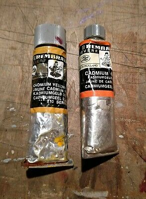 Pair of Two Used Rembrandt Oil Colour Paint Tubes Cadmium Yellow & Orange Talens