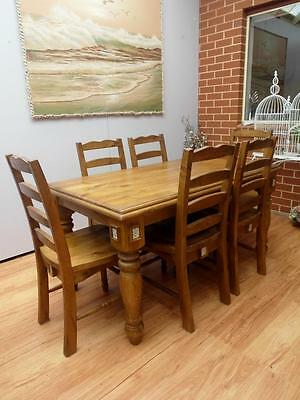 SOLID TIMBER 7 piece DINING Suite TABLE 6 Chairs From EVERYDAY Living Adelaide