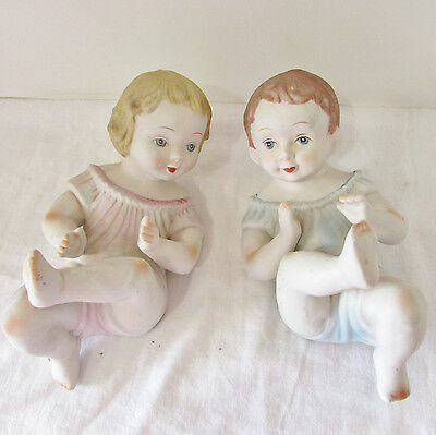 Pair Vintage Porcelain Bisque Large Piano Babies Lying on Back Boy & Girl 1950s