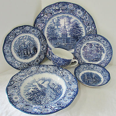 Staffordshire Liberty Blue 6 Piece China Place Setting Ironstone Made in England