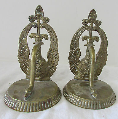 Pair of Vintage Solid Brass Figural Bookends of Swooning Swans Art Nouveau Style