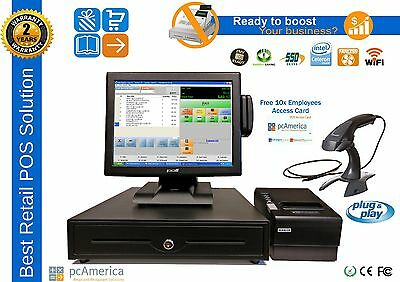 Retail All-In-One Touch Screen POS System PC America CRE With media Display
