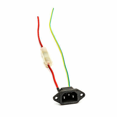 kettle Plug Fused Male IEC Lithium lead Acid Battery Wiring Charger Plug 2 Wire