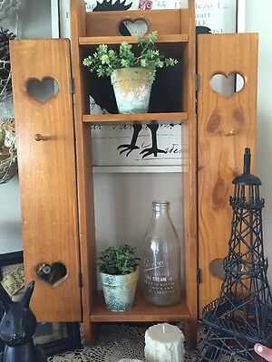 French Country Hearts Wooden Shadow Box Cupboard Shabby Chic Shelf��
