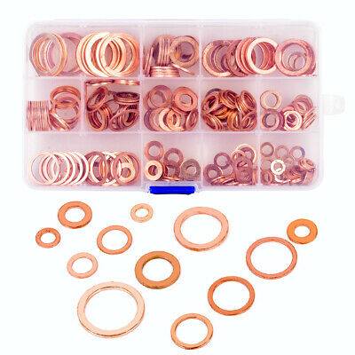 280Pcs Kit 12 Sizes Assorted Solid Copper Crush Washers Seal Flat Ring With Box