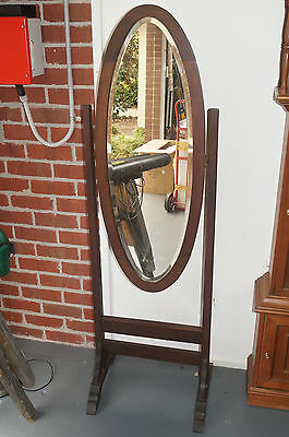 Antique Hardwood Cheval Free Standing Mirror