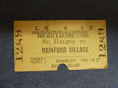 Vintage LMS Forces Railway Ticket St. Helens to Rainford Vill 1289 Sep 08 1945