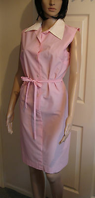 Ladies Vintage Overall Housecoat Pink and White Cleaner Dinner Lady Housewife
