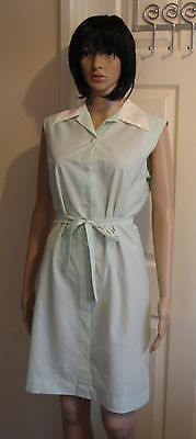 Ladies Vintage Overall Housecoat Green and White Cleaner Dinner Lady Housewife