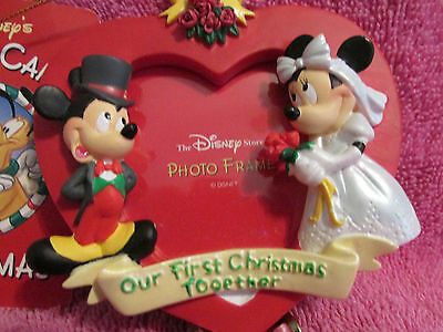 Disney Candy Cane Heart Christmas Ornamament Mickey And Minnie Picture Frame