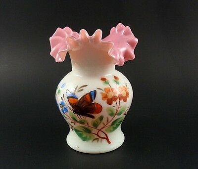 Victorian Hand Blown Milk Glass with Pink Ruffled Edge Vase Hand Painted