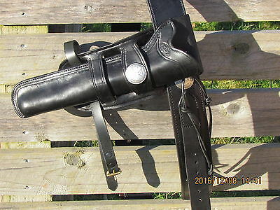 Western Mexican Leather Double Loop Over The Belt  Gun Rig