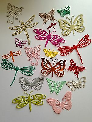 Bargain Pack of 20 Mixed Butterfly & Dragonfly Die-cuts (Multi Coloured)