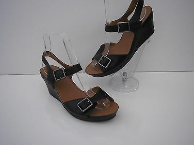 Clarks Black Leather Wedge Sandals 2 Wide Adjustable Straps Vgc Uk 4.5