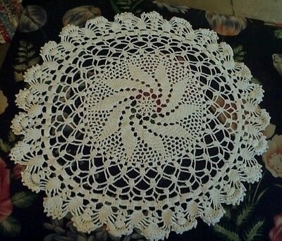 Fabulous  Large Vintage Crochet Doilie 24 inches Wide CC