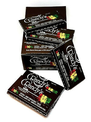 Randy's Roots Wired Hemp Vegan Rolling Papers 5 Packs 24 Leaves A Pack NEW USA