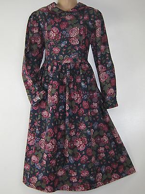Laura Ashley Vintage Mother&child Label Winter Roses Day Dress, 9-10 Yrs