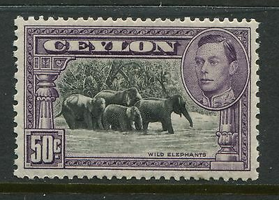 Ceylon 1938 50 cents perf 13 by 11 1/2 mint o.g. hinged